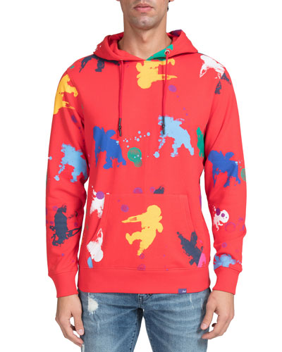 Men's Cherub Stamp Graphic Pullover Hoodie