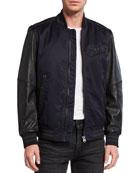 G-Star Men's Allox PM Leather Sleeve Bomber Jacket