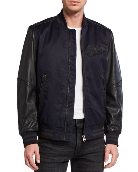G-Star Men's Allox PM Leather Sleeve Bomber Jacket