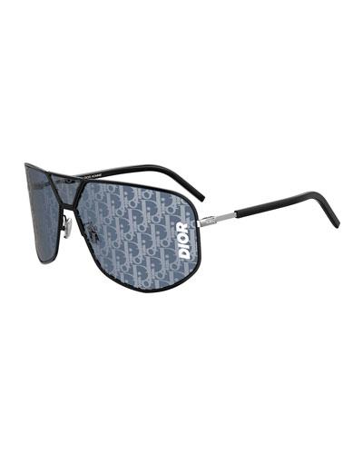 Men's Ultra Logo-Monogrammed Metal Shield Sunglasses