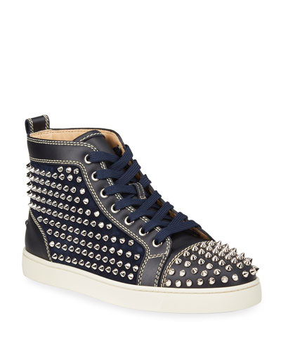 Men's Louis Spikes Leather High-Top Sneakers