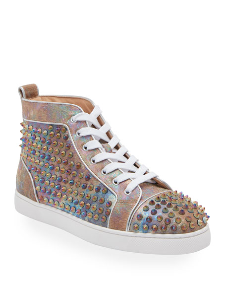 Christian Louboutin Men's Louis Orlato Multicolor Spike Leather Sneakers