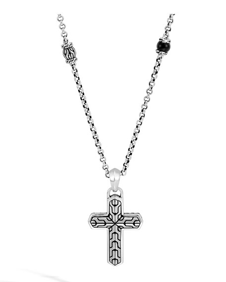 "John Hardy Men's Classic Chain Rugged Silver Cross Pendant Necklace with Onyx Beads, 2^""L"