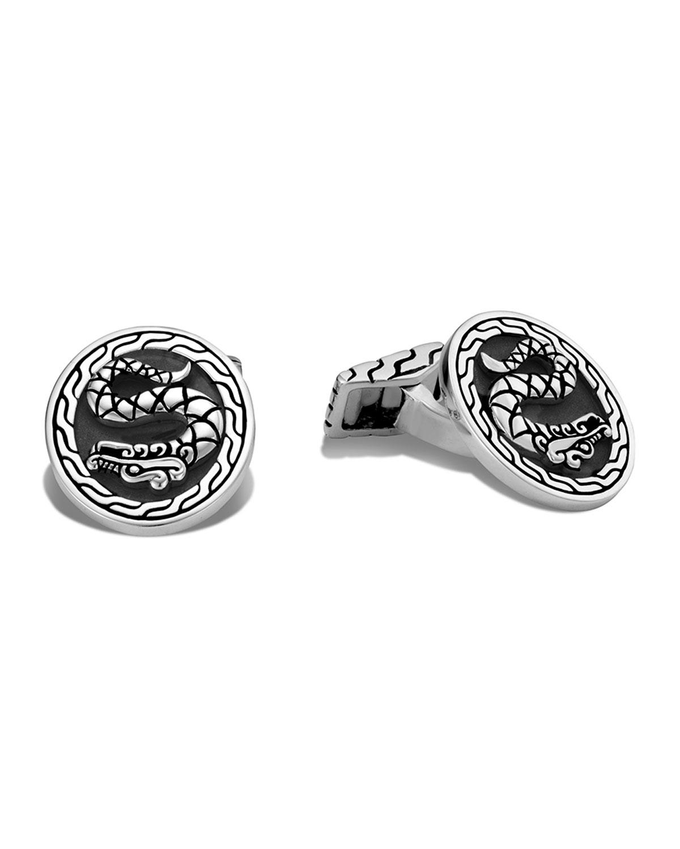 Men's Legends Naga Silver Cufflinks