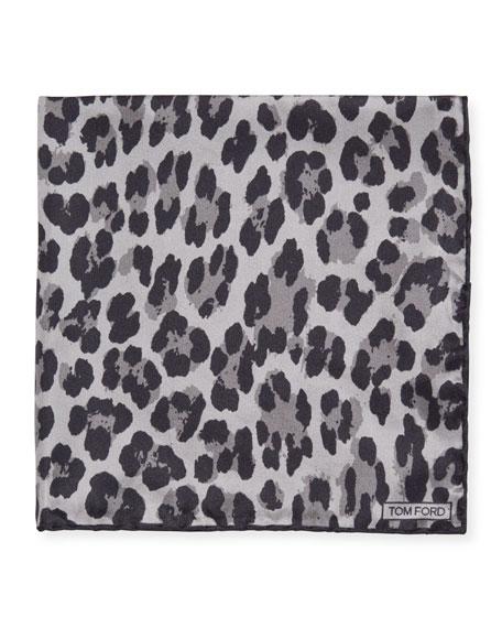 TOM FORD Men's Abstract Zebra Silk Pocket Square