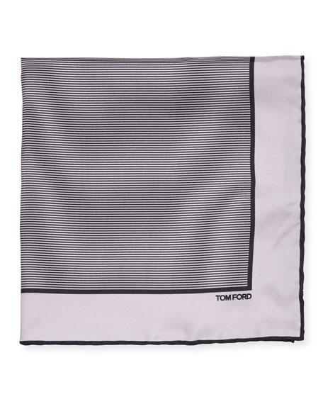 TOM FORD Men's Striped Silk Pocket Square