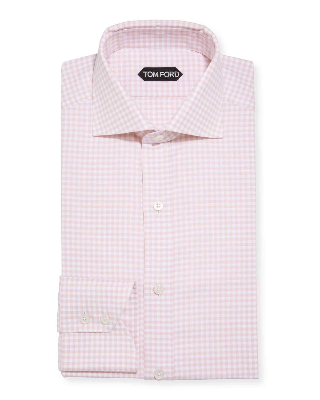 Tom Ford Cottons MEN'S GINGHAM CHECK DRESS SHIRT