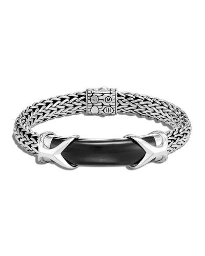 Men's Asli Classic Chain Onyx ID Bracelet, Size M-L