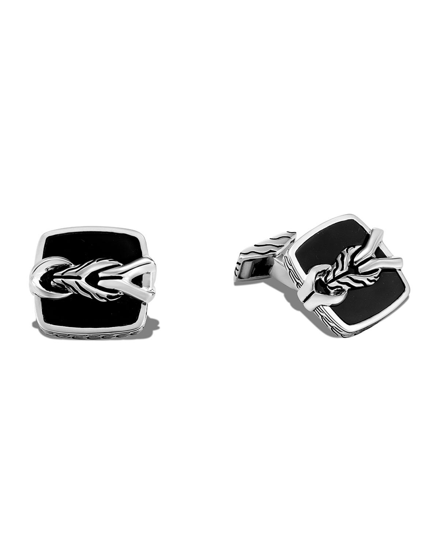Men's Asli Classic Chain Onyx Square Cufflinks
