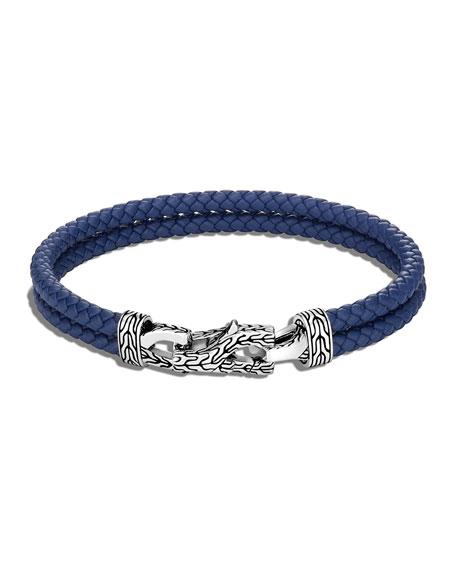 John Hardy Men's Asli Classic Chain Woven Double Leather Bracelet, Size M-L