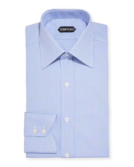 TOM FORD Men's Gingham Oxford Dress Shirt