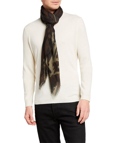 Men's Camo-Print Wool-Silk Scarf