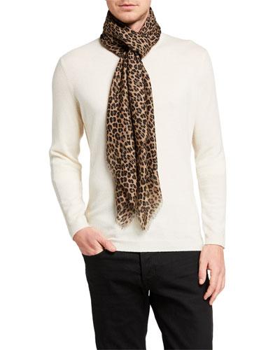 Men's Leopard-Print Wool-Silk Scarf