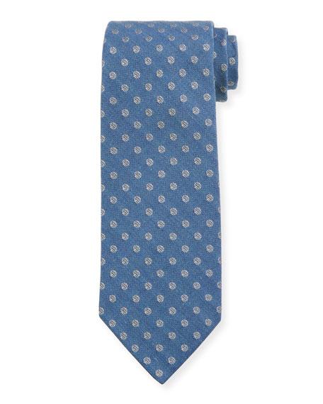 TOM FORD Polka Dot Silk/Cotton Tie, Blue