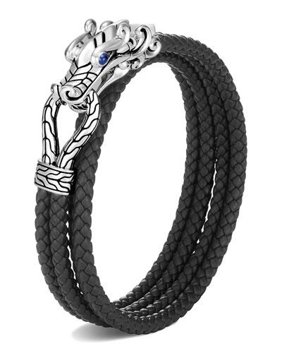Men's Legends Naga Woven Leather Wrap Bracelet, Size M-L