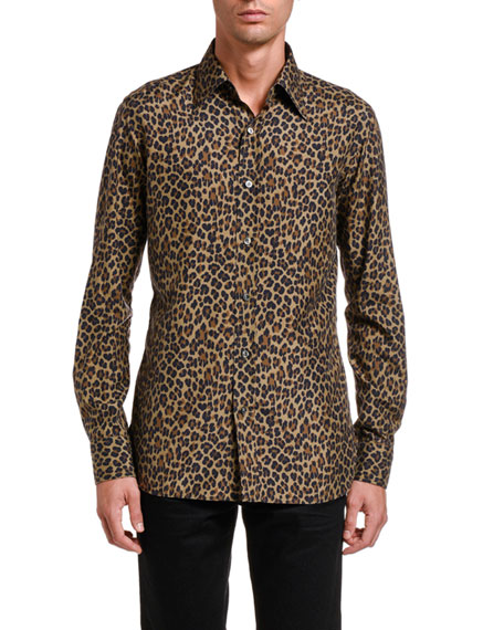 TOM FORD Men's Silk Leopard-Print Sport Shirt