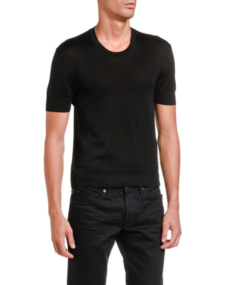 TOM FORD Men's Solid Silk Crewneck T-Shirt