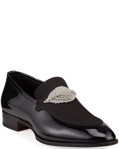Men's Bahrain Embellished Patent Leather Loafers