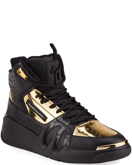Giuseppe Zanotti Men's Talon Metallic & Croc-Embossed Leather Sneakers