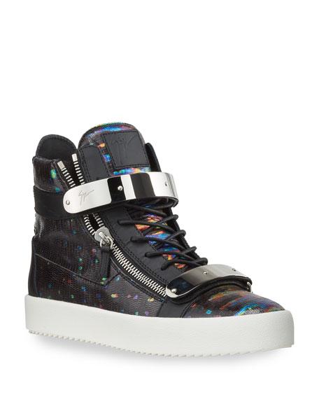 Giuseppe Zanotti Men's May London High-Top Sneakers w/ Neon Print
