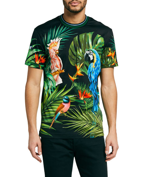Dolce & Gabbana Men's Jungle-Print Crewneck Tee