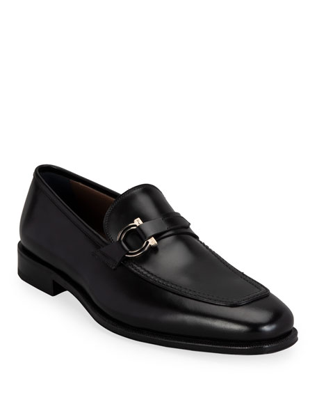 Salvatore Ferragamo Men's Rolly Leather Loafers w/ Gancio Ornament
