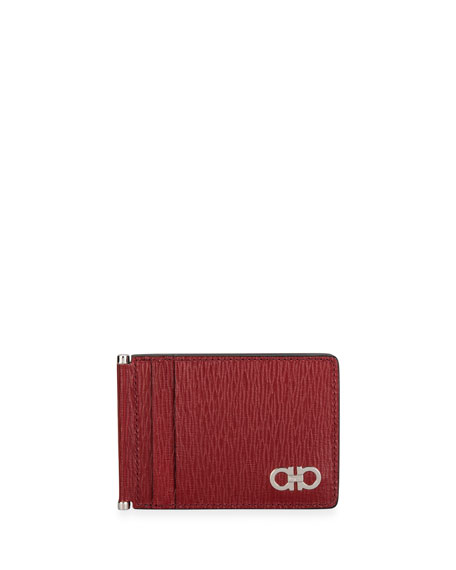 Salvatore Ferragamo Men's Gancini Textured Leather Card Case