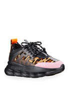 Versace Men's Chunky Leopard Calf Hair Sneakers