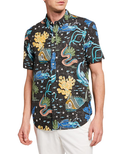 Men's Deep Sea Jive Print Short-Sleeve Sport Shirt