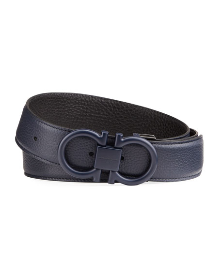 Salvatore Ferragamo Men's Textured Leather Gancini Belt
