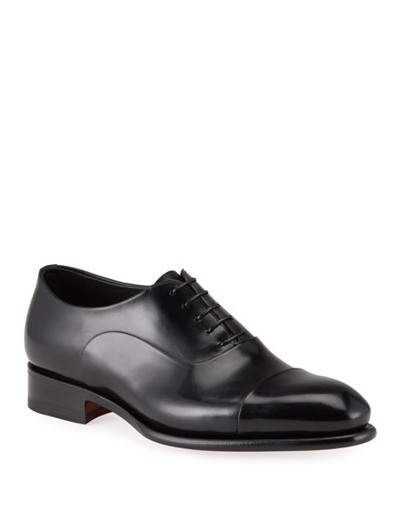 Santoni Men's Isaac Cap-Toe Leather Oxford Shoes