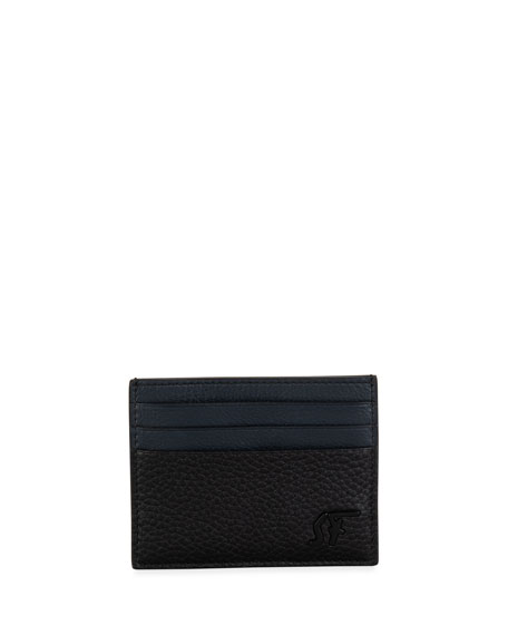 Salvatore Ferragamo Men's Signature Pebbled Leather Card Case