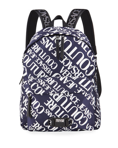 Men's Nylon Logo Typographic Backpack
