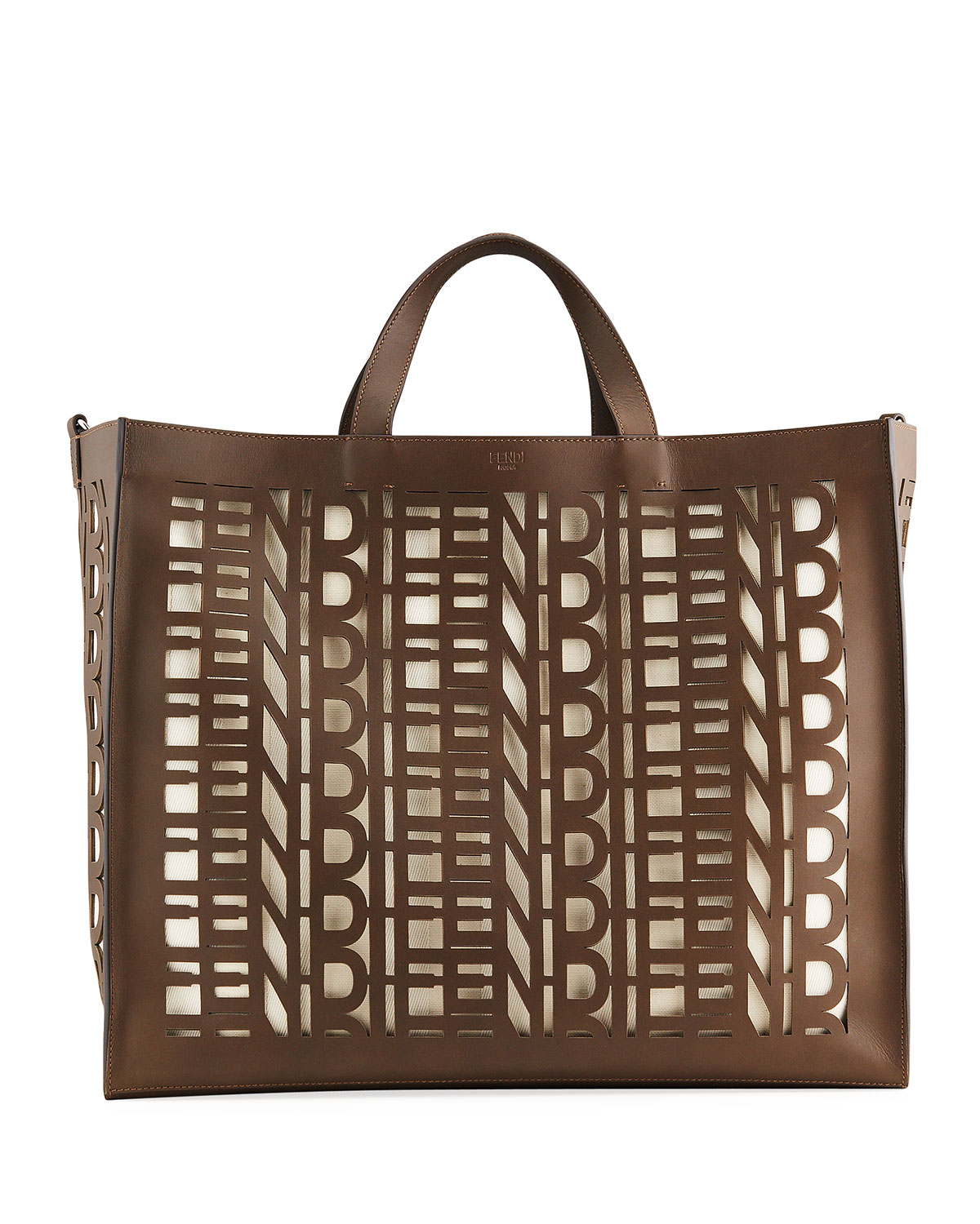 Fendi MEN'S FENDI LASER-CUT LEATHER TOTE BAG