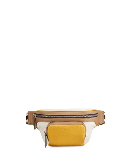 Fendi Men's Canvas & Suede Belt Bag