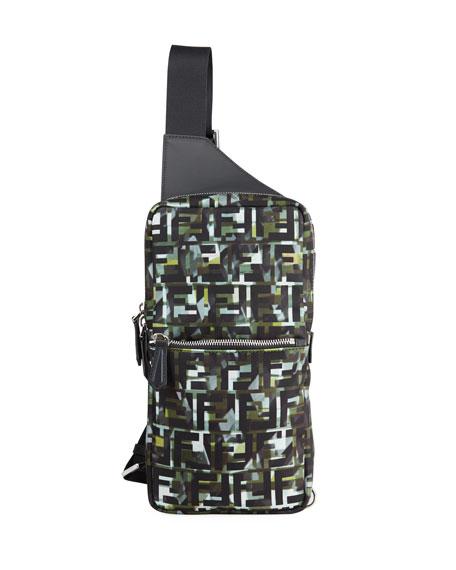 Fendi Men's FF Camo Sling Backpack