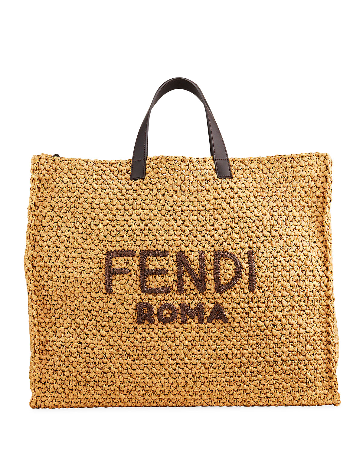 Fendi MEN'S ROMA RAFFIA TOTE BAG