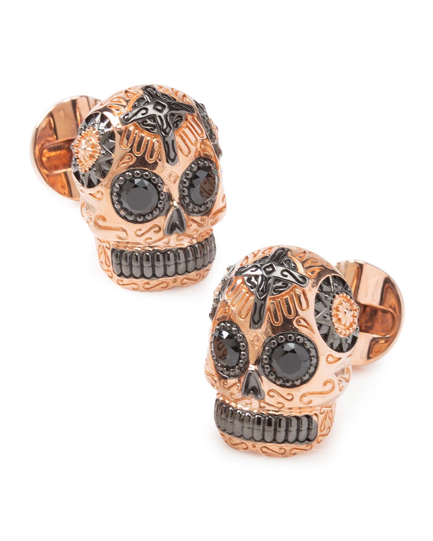 Men's Rose Gold & Black Day of the Dead Skull Cufflinks