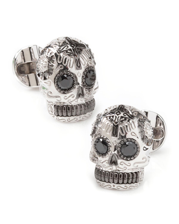 Men's Silver & Black Day of the Dead Skull Cufflinks