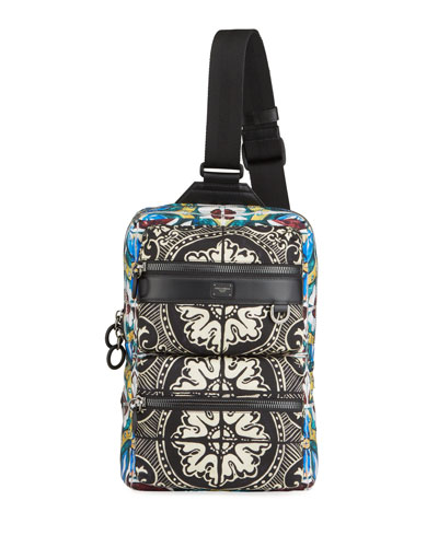 Men's Zaino Stampato Nylon Crossbody Backpack