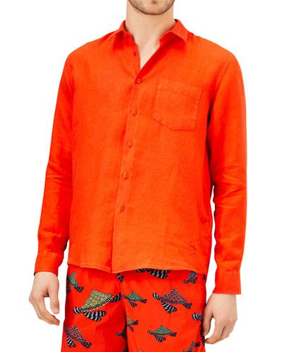Men's Caroubis Solid Linen Sport Shirt
