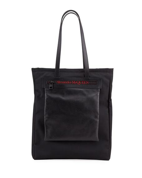 Alexander McQueen Men's Logo Leather-Trim Tote Bag