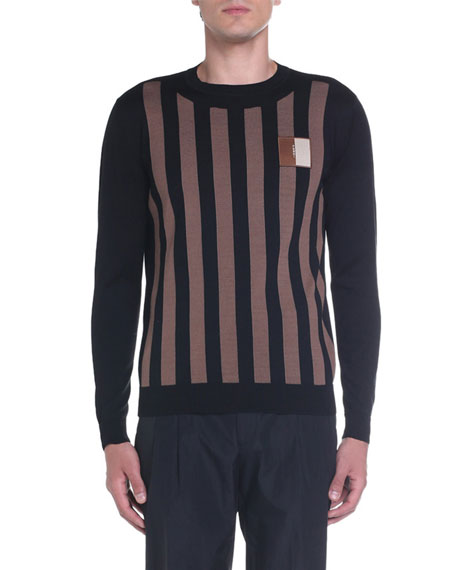 Fendi Men's Pequin Striped Crewneck Sweater