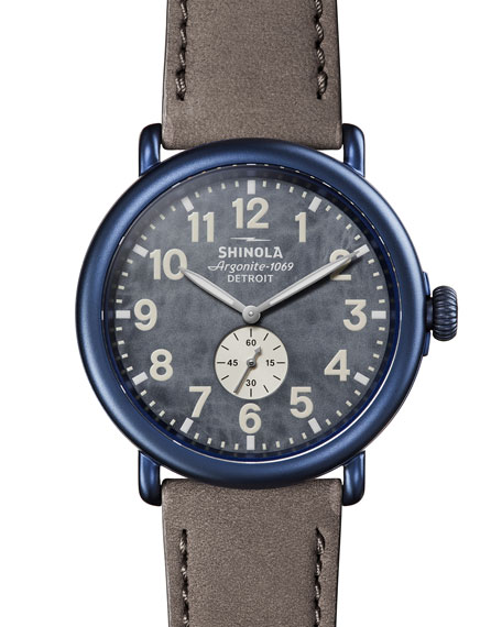 Shinola Men's 47mm Runwell Sub-Second Watch in Blue PVD with Leather Strap