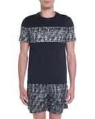 Fendi Men's FF Camo-Stripe Graphic T-Shirt