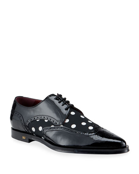 Dolce & Gabbana Men's Brogue Patent Leather/Dot-Print Derby Shoes