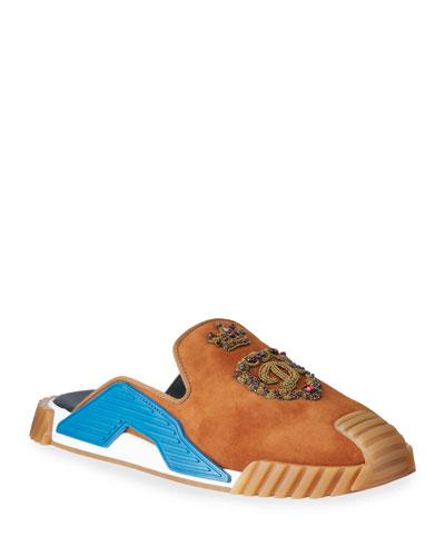 Men's Embellished Suede/Rubber Sneaker Slippers