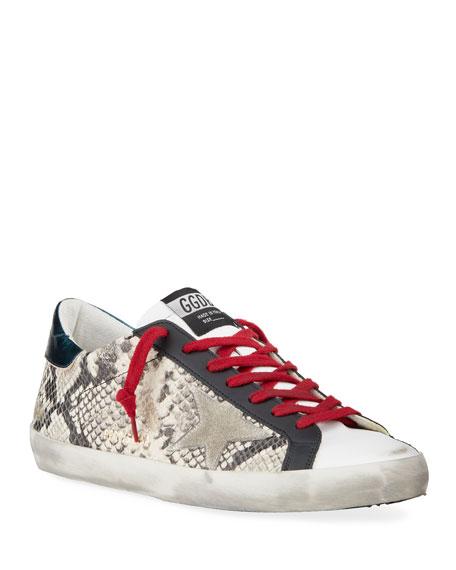Golden Goose Men's Superstar Vintage Snake-Print Leather Sneakers