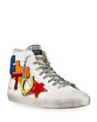 Golden Goose Men's Francy Leather Applique Sneakers