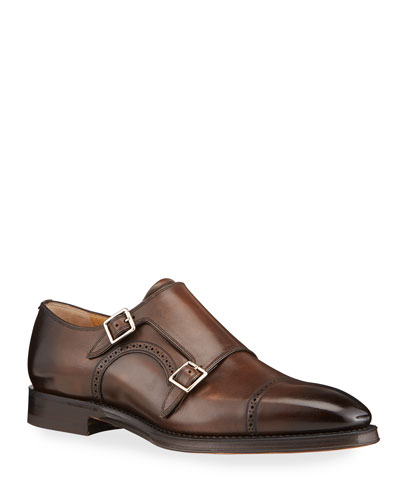 Men's Scardino Scribe Leather Double-Monk Loafers